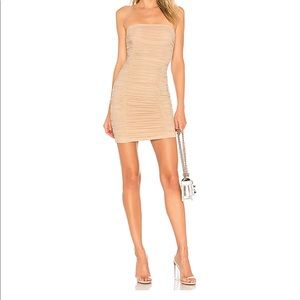 Superdown Ruched Strapless Dress in nude